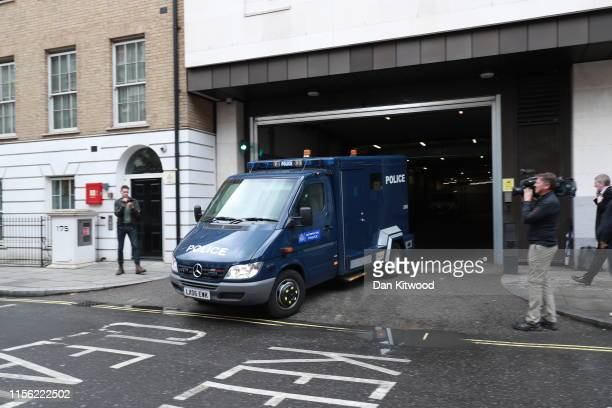 Police van carrying Hashem Abedi the younger brother of Manchester Arena bomber Salman Abedi leaves the Westminster Magistrates' Court on July 18...