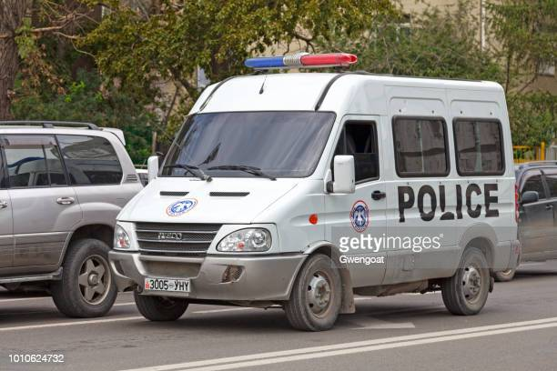 police van in ulan bator - gwengoat stock pictures, royalty-free photos & images
