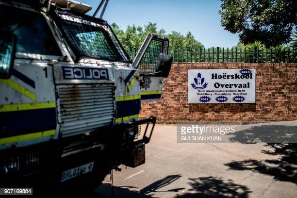 A police van is parked outside the Horskool Overvaal during a protest against the language and admission policies on January 19 2017 in Vereeniging...