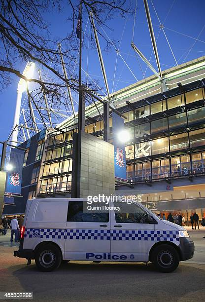 A police van is seen outside the Melbourne Cricket Ground before the start of the AFL 2nd Semi Final match between the Geelong Cats and the North...