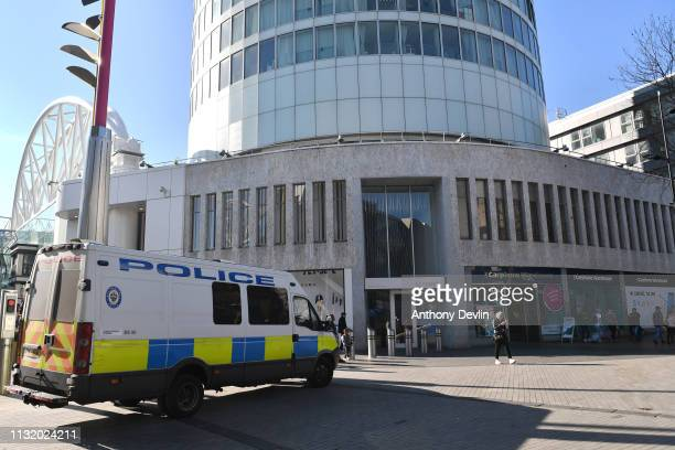 A police van is seen outside the Rotunda building formerly the site of The Mulberry Bush public house where a bomb was detonated in 1974 on February...