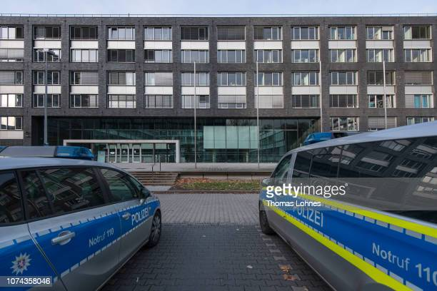Police van stand outside the police headquarters at Adickesalle on December 18 2018 in Frankfurt Germany Police have expanded an internal...