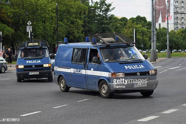 Police van vehicles on the street