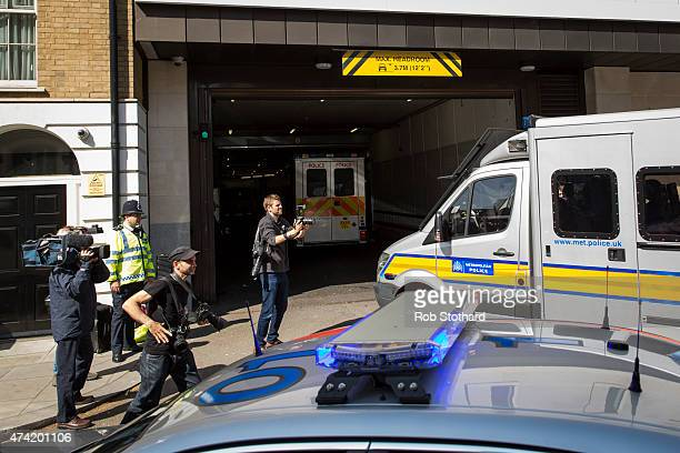 Police vans carrying men charged with plotting the Hatton Garden jewellery heist arrive at Westminster Magistrates' Court on May 21, 2015 in London,...