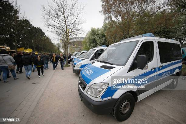Police vans patrol outside the ground prior to the UEFA Champions League Quarter Final first leg match between Borussia Dortmund and AS Monaco at...