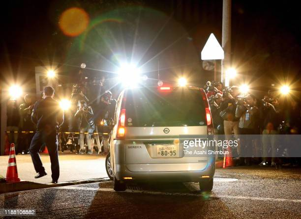 A police vehicle believed to carry actress Erika Sawajiri is seen after her arrest on suspicion of possessing drugs on November 16 2019 in Tokyo Japan
