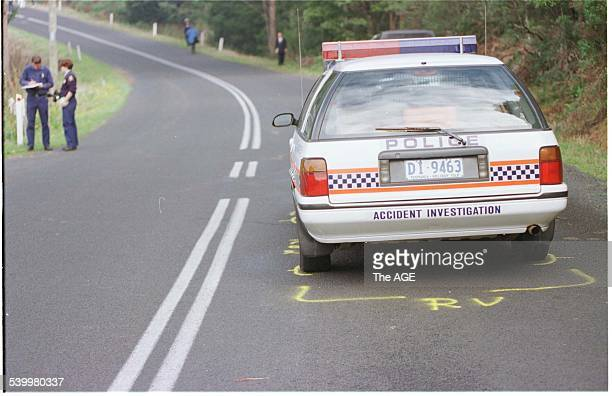 A police vehicle fired at during the Port Arthur massacre parked outside the Seascape Guesthouse after the killings Port Arthur Tasmania 29 April...