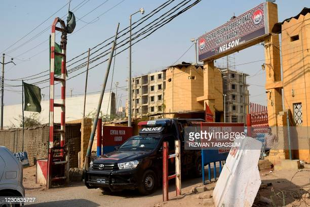 Police vehicle leaves the Central Prison Karachi where British-born militant convicted of masterminding the kidnap and murder of US journalist Daniel...