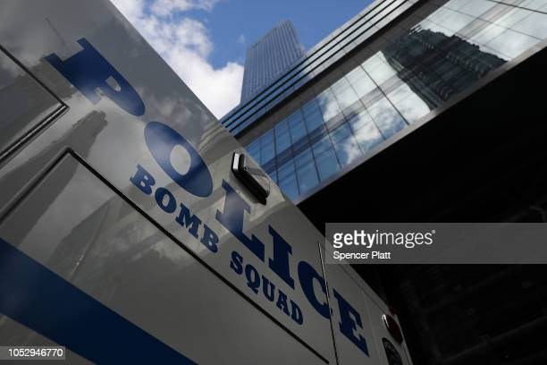 A police vehicle sits outside of the Time Warner Center after an explosive device was found this morning on October 24 2018 in New York City CNN's...