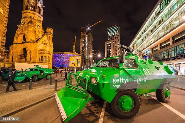 Police vehicles block the street in Berlin