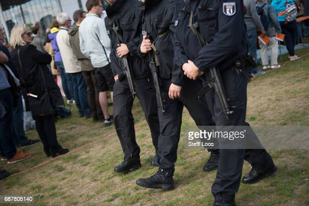Police walk guard during the Opening Religious Service at Church Congress in front of Reichstag building on May 24 2017 in Berlin Germany Up to...