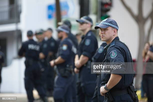 Police watch over a rally in support of same sex marriage on September 23 2017 in Sydney Australia The Party for Freedom's 'Straight Lives Matter'...