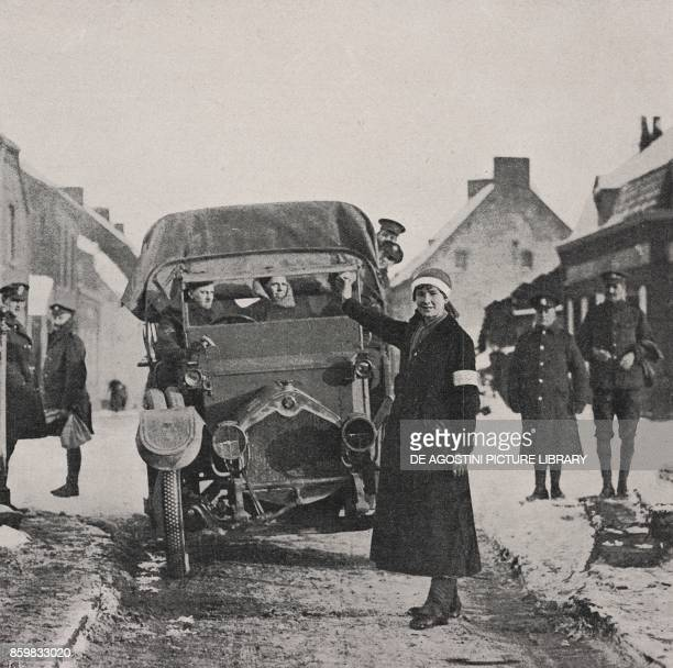 A police woman directing the transit of military transports Arques France World War I from l'Illustrazione Italiana Year XLV No 6 February 10 1918