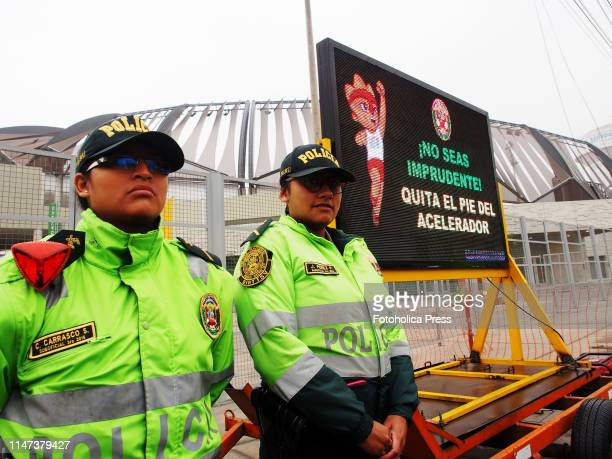Police women at the venue of the national sports village when the Directorate of Traffic Transportation and Road Safety of the Peruvian National...