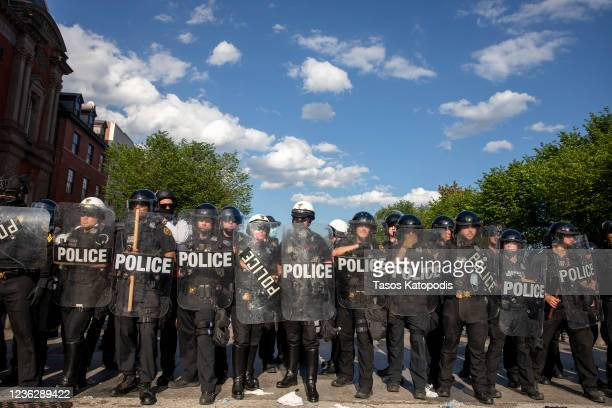 Police work to keep demonstrators back during a protest in Lafayette Square Park on May 30, 2020 in Washington, DC. Across the country, protests were...