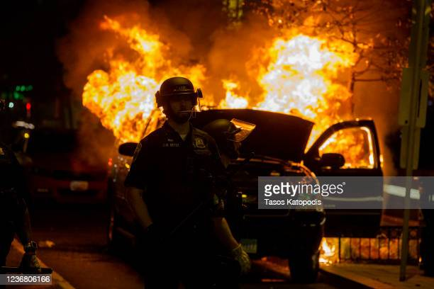 Police work to keep demonstrators back during a protest near Lafayette Square Park on May 30 2020 in Washington DC Across the country protests were...