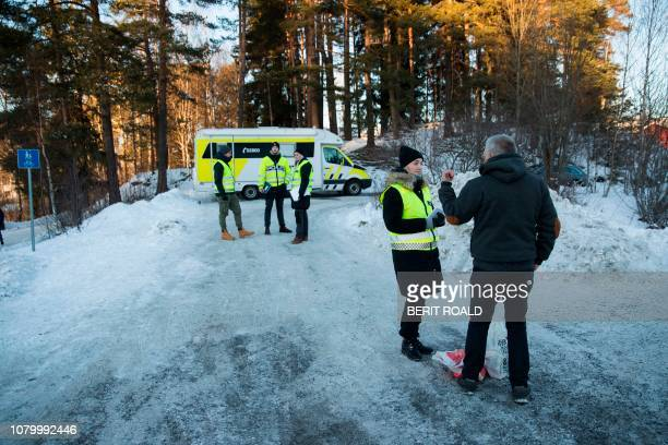 Police works outside the house of Norwegian multimillionaire Tom Hagen in Fjellhamar on January 10 2019 as his wife AnneElisabeth Falkevik missing...
