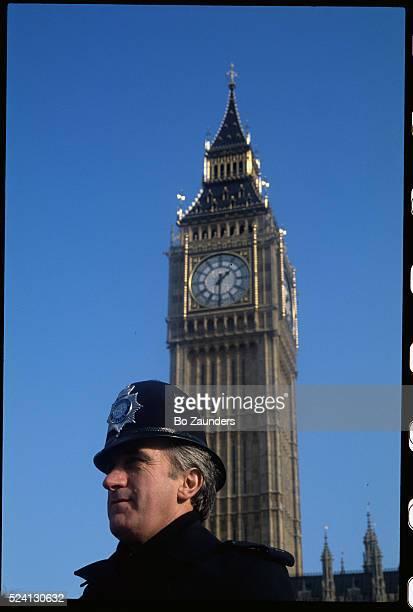 Policeman and Big Ben Clock Tower