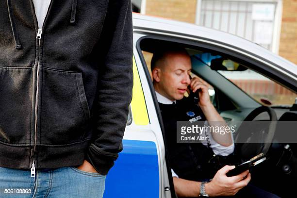 Policeman getting information