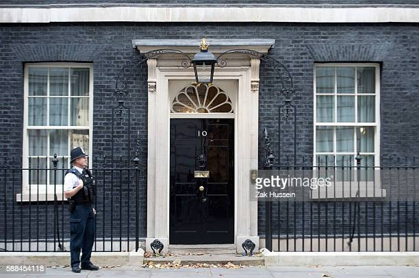 Policeman guards number 10 Downing Street in London.