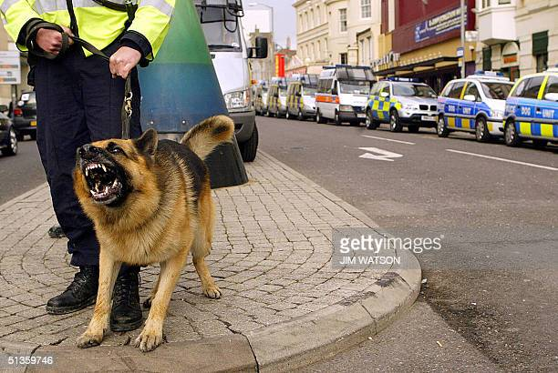 A policeman holds tight as a police dog barks while guarding the streets outside the Brighton Conference Center 26 September 2004 on the first day of...