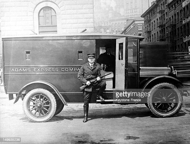 Policeman in front of a van during Prohibition in 1928 in Chicago United States