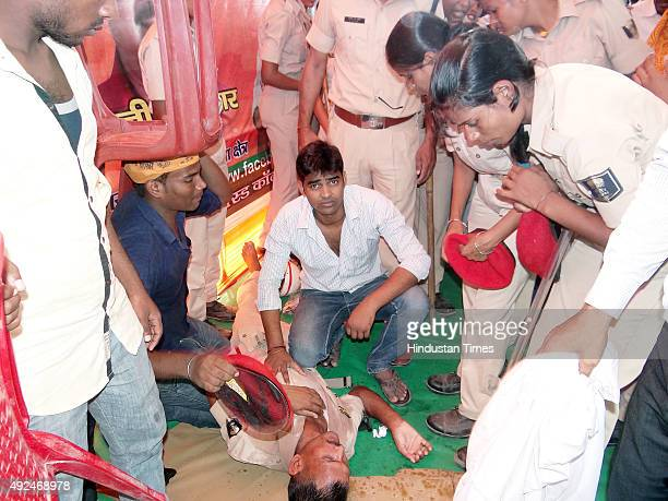 A policeman injured in stonepelting by crowd which grew restive due to late arrival of Bollywood actor star Ajay Devgn at an election rally for the...