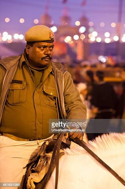 Policeman on duty at Maha Kumbh Allahabad Uttar Pradesh India