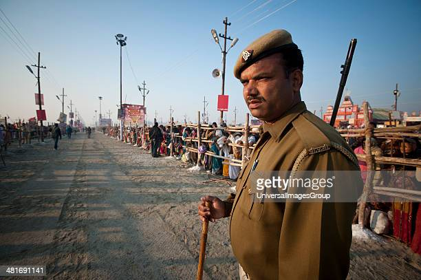 Policeman on duty at Maha Kumbh Allahabad Uttar Pradesh India