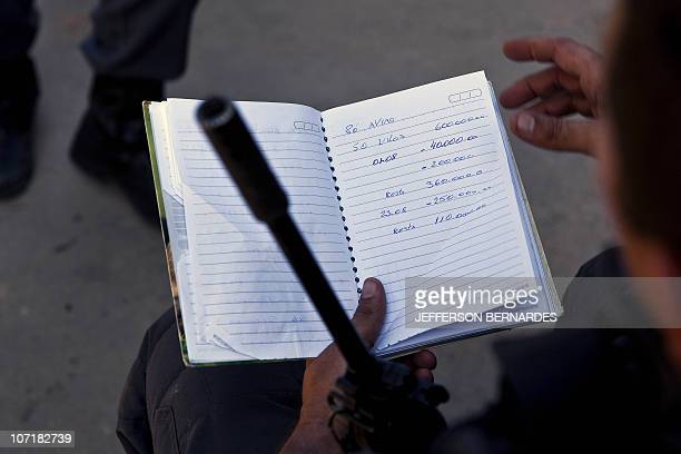 A policeman reads notes seized to drug traffickers after a raid in Morro do Alemao shantytown on November 28 2010 in Rio de Janeiro Brazil After days...