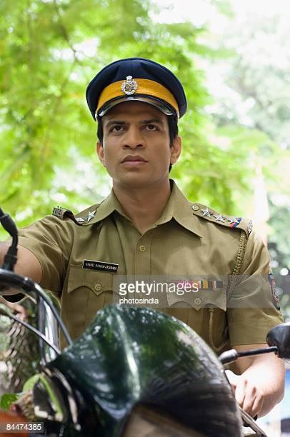 Policeman riding a bike
