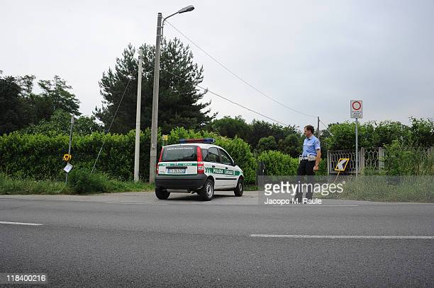 Policeman shows press the scene of a car accident which killed Australian professional cyclist Carly Hibberd on July 7 2011 in Como Italy The 26 year...