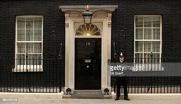 Policeman stands guard outside Number 10 Downing Street on June 5, 2009 in London, England. Prime Minister Gordon Brown is today carrying out a...