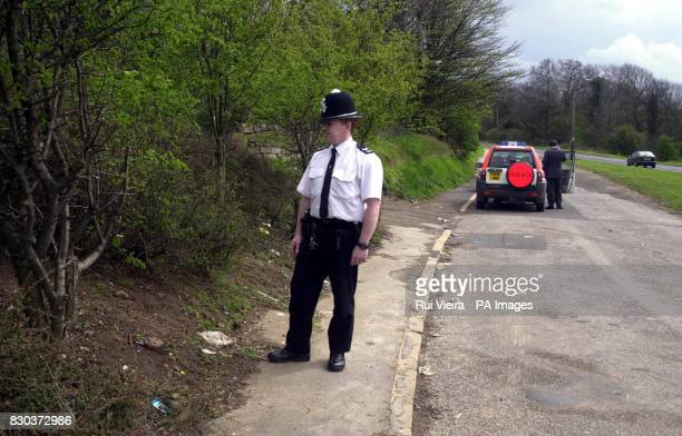 A policeman stands in the layby on the B6059 between South Anston and Kiveton Park Rotherham South Yorkshire where baby William Daniel Redhill a...