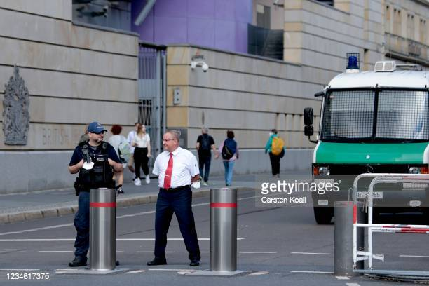 Policeman stands outside the British Embassy on August 11, 2021 in Berlin, Germany. German law enforcement authorities announced today that they have...