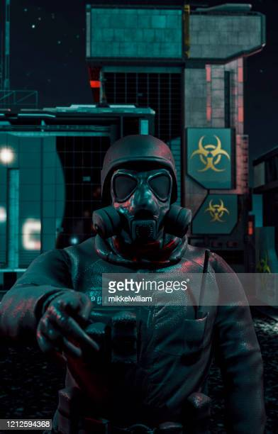 policeman with protective face mask raises his finger to make a warning - fascism stock pictures, royalty-free photos & images