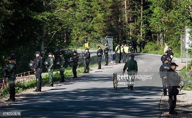 Policemen and fences protect the perimeter of Schloss Elmau venue of the summit of G7 nation leaders against antiG7 protesters on the first day of...