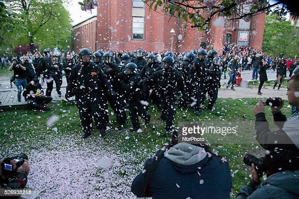 Policemen are pictured during the clashes occurred between demonstrators and police in the Kreuzberg district on May 1 2016 in Berlin Germany May Day...