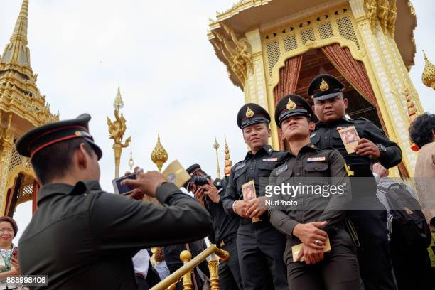 Policemen army cadets and government officials visit the Royal Crematorium ahead of the official opening in Bangkok on November 1 2017 Government...