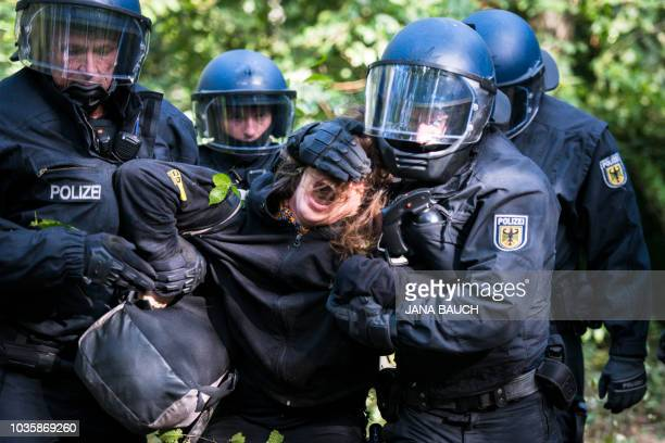 Policemen carry away an environmental activist at the Hambacher Forst forest that is to be deforested in the context of an enlargement of a lignite...