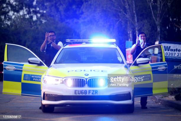 Policemen clap outside of Newham University Hospital on April 23 2020 in London United Kingdom Following the success of the Clap for Our Carers...