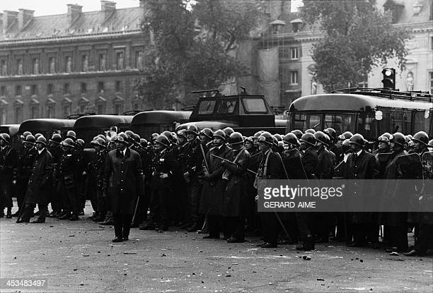 Policemen during a demonstration in Paris France on May 23 1968