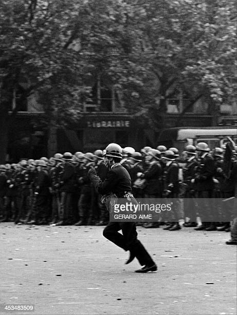 Policemen during a demonstration in Paris, France on May 23, 1968.