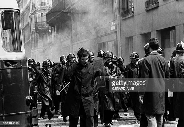 Policemen during a demonstration in Paris, France on May 6, 1968.