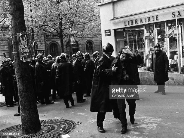 Policemen during a demonstration near the Sorbonne University in Paris, France on May 3, 1968.