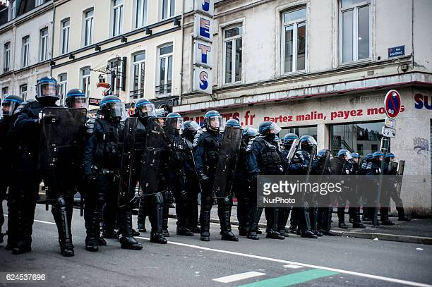 """Policemen during an anti-facist demonstration against the far-right group """"Generation Identitaire"""", the youth branch of the regionalist..."""