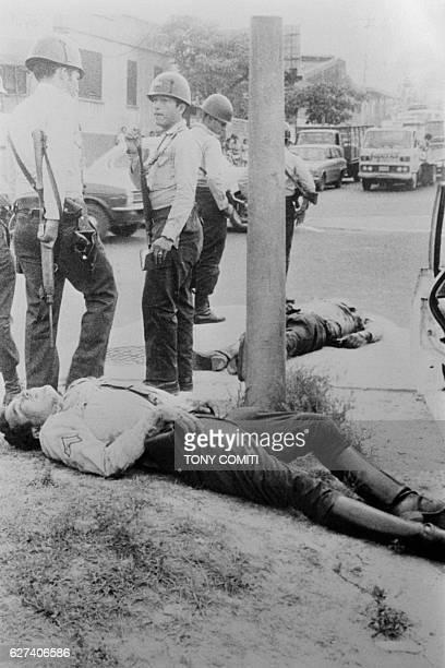 Policemen killed by guerrilla militants of the rebel movement Bloc Populaire Revolutionnaire .