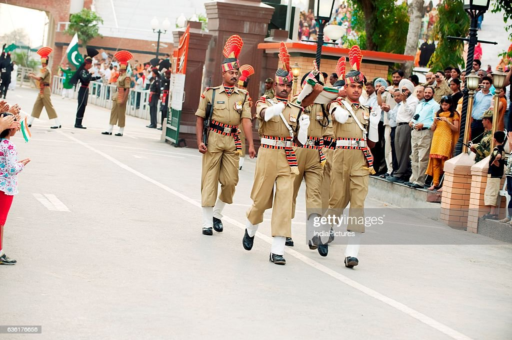 Policemen marching at Wagah border ceremony