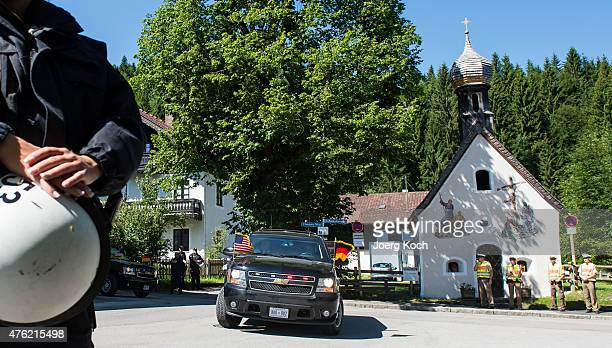 Policemen protect a road in Klais while US-President Barack Obama and his motorcade pass by driving to a meeting with German Chancellor Angela Merkel...