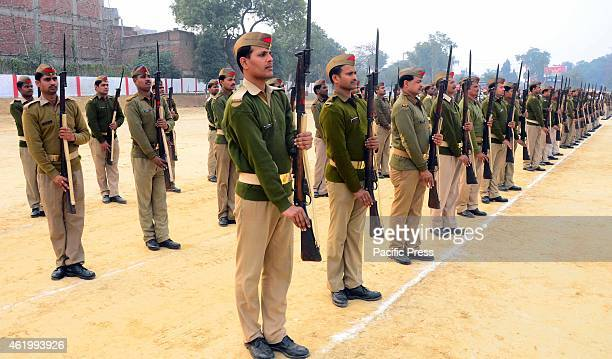 Policemen rehearse ahead of Republic Day at Police lines in Allahabad